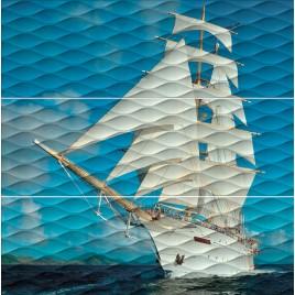 Майори Панно Корабль ALD\A01\3x\13025R 90х89,5 (из 3-х плиток)